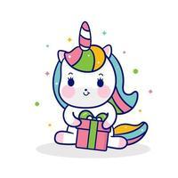 Söt Unicorn ponny tecknad kram presenter lite ponny kawaii djur vektor