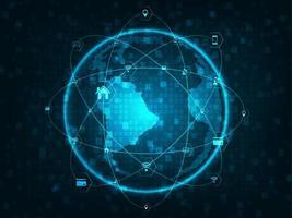 Kugel mit Netzlinien, Kreisen und flachen Ikonen der Technologie