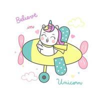 Niedlicher Einhorn-Cartoon, glückliches Pony-Cartoon Kawaii Tierfliegenflugzeug ist ein Pilot. vektor