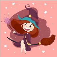 nette Hexe mit einem magischen Stockhalloween-Hintergrund im purpurroten Kleid reiten eine Blüte, flachen Vektorcharakter