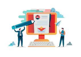 Folk fyller i ett formulär online