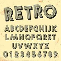 Retro Linie Schriftvorlage. Satz Weinlesebuchstaben und Zahllinien Design