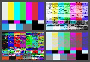 Ingen signal-TV-testmönsterbakgrundsuppsättning. vektor