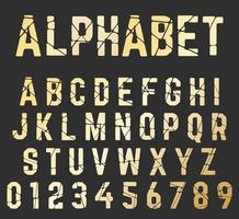 Brutet teckensnittalfabet. Uppsättning av bokstäver och siffror knäckt design