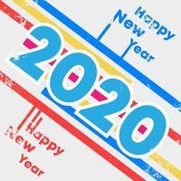 Hintergrund mit 2020 guten Rutsch ins Neue Jahr mit Schmutzbeschaffenheitsdesign für Feiertagsflieger, Gruß, Einladungskarte, Flieger, Plakat, Broschürenabdeckung, Typografie oder andere Druckprodukte