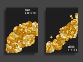 Abstraktes Cover-Design. Goldene Kugeln Hintergrund mit Farbverlauf