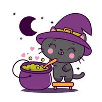 Niedlicher Halloween-Katzenhexenkarikatur mit magischem Tier des Topf-großen Kessels Kawaii vektor