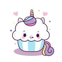 Söt tårta för unicornvektor, födelsedagsfest, Kawaii djurponnitecknad film vektor