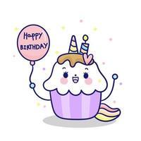 Alles Gute zum Geburtstag Kawaii kleine Kuchen, die feenhaftes Karikaturponykind des Einhorns übersteigen vektor