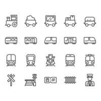Tågstationer relaterade ikonuppsättning