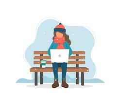 Flicka med datorn på bänken på vintern med kaffe i platt stil