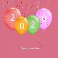2020 gott nytt år ballonger med färgglada konfettis vektor