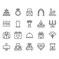 Bröllop relaterade ikonuppsättning
