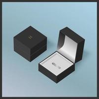 Schwarze Schmuckgeschenkboxen auf blauem Hintergrund vektor