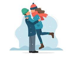 Älskande par på vintern i platt stil