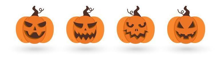 Uppsättning av läskiga och roliga halloween pumpor