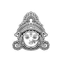 Dekorativer Illustrationsvektor Durga Maa Face vektor