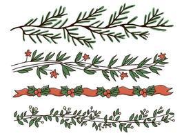 Jul handdrawn gränsen designuppsättning vektor