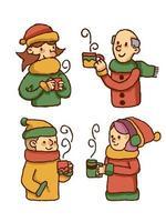 Weihnachtsleute, die heißes Getränk trinken vektor