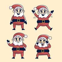Weihnachtsweihnachtsmann-Aktionssatz vektor