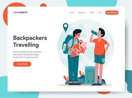 Landningssidamall för resande backpackers vektor