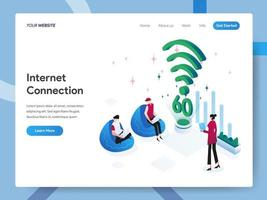 Landningssidamall för internetanslutning vektor