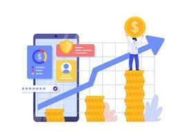 Onlineinvestering med mobiltelefonbegrepp.