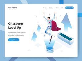 Zielseitenvorlage von Character Level Up vektor