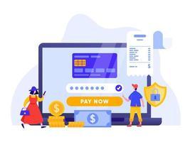 Bewegliche Zahlung oder Geldüberweisung mit Laptopkonzept