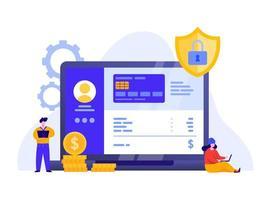 Mobil betalning eller pengaröverföring med bärbar datakoncept.