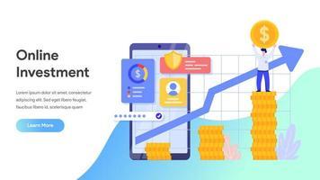 Onlineinvestering med mobiltelefonbegrepp. vektor