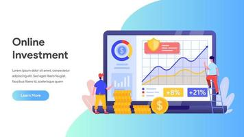 Onlineinvestering med laptopkoncept.