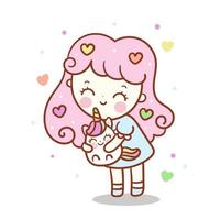 Nettes Einhorn und kleines Mädchen, Kawaii Tierpastellfarbschöner Charakter vektor