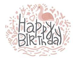 Alles- Gute zum Geburtstaghand gezeichnete Flamingo-Art für Grußkarten