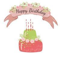 Alles- Gute zum Geburtstagkarte mit nettem rosa grünem Kuchen.