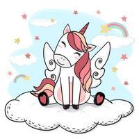söt teckning lyckligt leende enhörning i rosa med vinkel vingen sitter på fluffiga moln regnbåge och stjärnor vektor