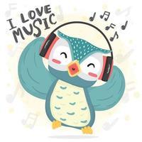 glad dans blå uggla lyssnar musik och sjunger sång med hörlurar