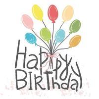 Alles Gute zum Geburtstag. Hand gezeichnete Ballonart für Grußkarten