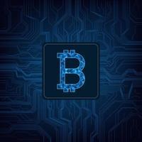 Digitales Währungslogo Bitcoin auf Stromkreishintergrund