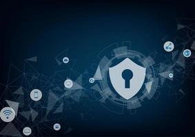 Internet Security Online-Konzept. Vorhängeschloss mit Schlüsselloch und Symbole.