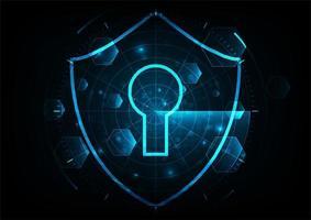 Schützen Sie und scannen Sie Computervirusangriff mit Radarschirm auf blauem abstraktem Hintergrund