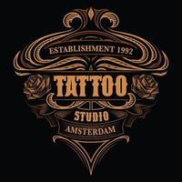 Vintage-logotyp för tatueringsstudion vektor