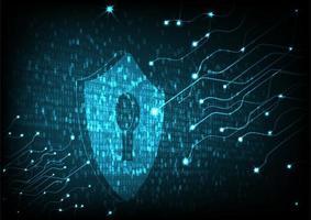 Sköld med nyckelhålsikonen på hi digital data bakgrund