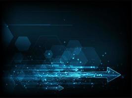 Hochgeschwindigkeitskonzept mit digitalen Artpfeilen und -hexagonen