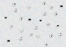 Verbundene Symbole für digital, verbinden, kommunizieren, soziale Medien und globale Konzepte vektor