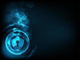 Schild mit Schlüsselloch-Symbol auf digitale Daten Hintergrund.