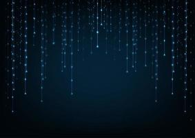 Blau leuchtende Verbindungen im Raum mit Partikeln