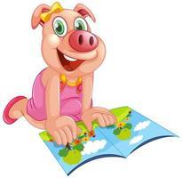 Lycklig gris som läser en bok