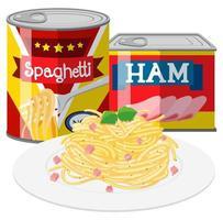 Spaghetti och skinka i konserverad mat vektor