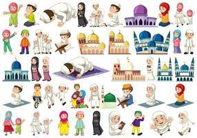 Uppsättning muslimska karaktärer vektor